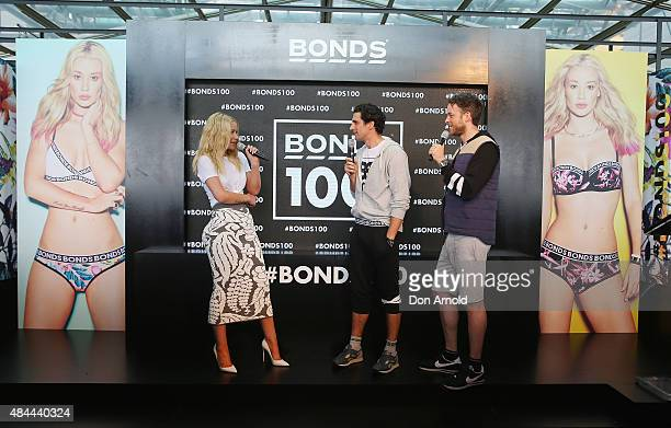 Iggy Azalea is interviewed by Andy Lee and Hamish Blake during Bonds 100th birthday celebration event at Cafe Sydney on August 19 2015 in Sydney...