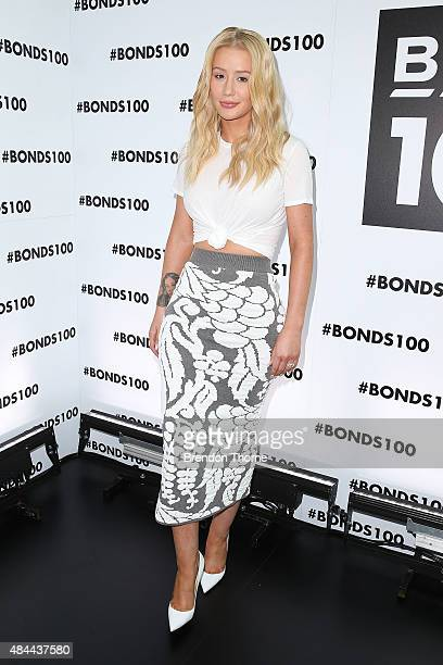 Iggy Azalea poses during Bonds 100th birthday celebration event at Cafe Sydney on August 19 2015 in Sydney Australia