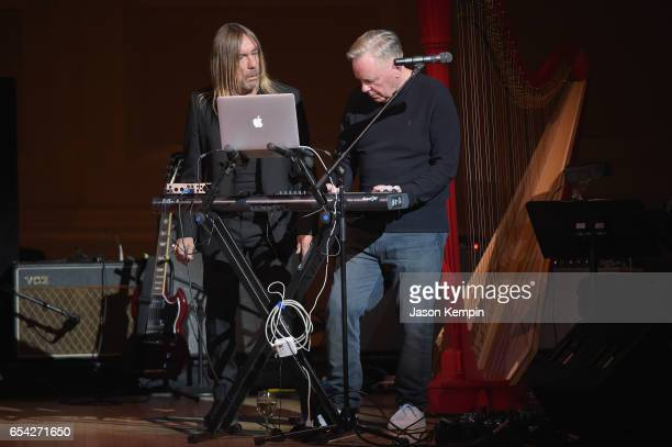 Iggy Pop and Bernard Sumner perform onstage during the Tibet House US 30th Anniversary Benefit Concert Gala to celebrate Philip Glass's 80th Birthday...