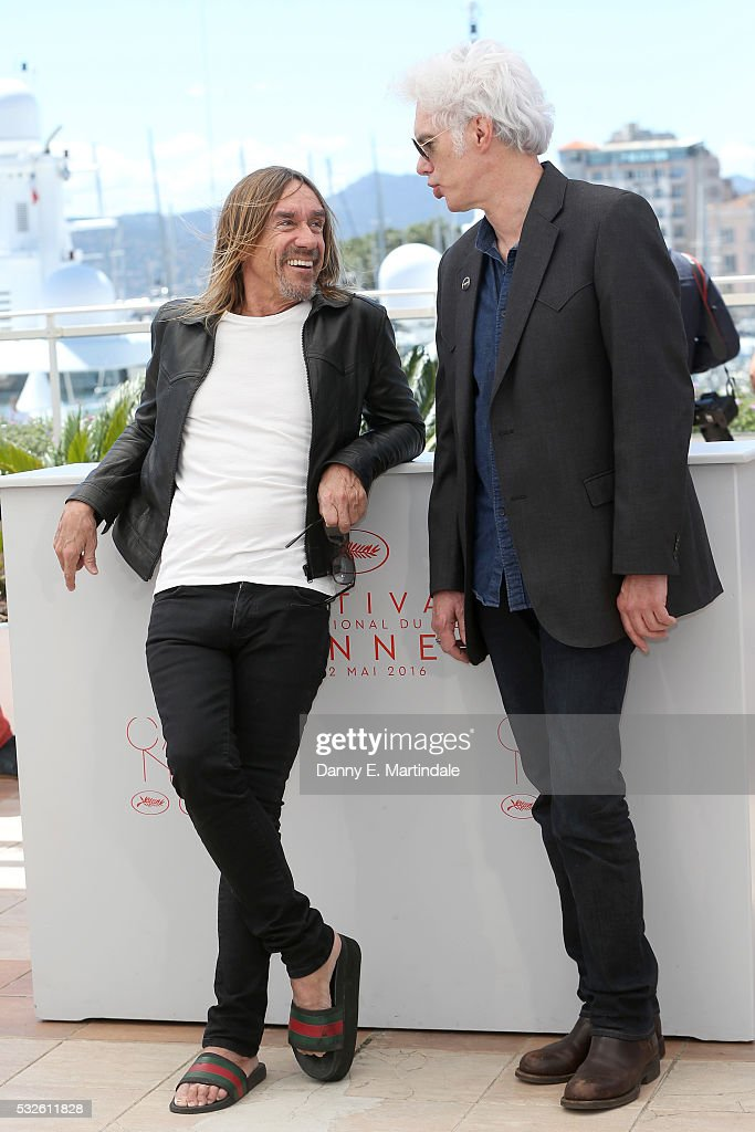 Iggy Pop and Jim Jarmusch attend the 'Gimme Danger' photocall during the 69th annual Cannes Film Festival at Palais des Festivals on May 19, 2016 in Cannes, France.