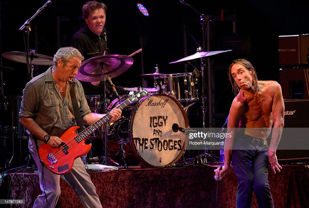 Iggy Pop (R) and Mike Watt (L) of Iggy Pop and the Stooges performs on stage during the Festival Cruilla 2012 held at the Forum on July 6, 2012 in Barcelona, Spain.