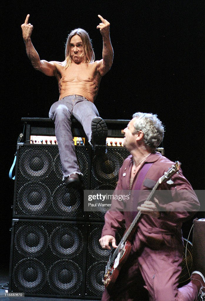 Iggy Pop and Mike Watt of The Stooges during Iggy and The Stooges in Concert - April 13, 2007 at The Fox Theater in Detroit, Michigan, United States.