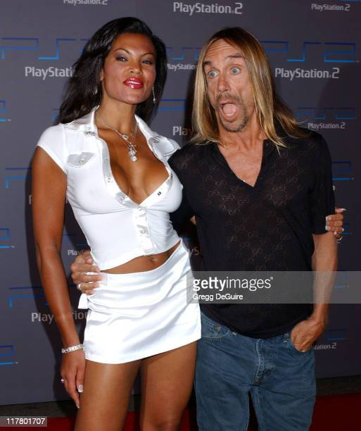 Iggy Pop and Nina Alu during Playstation 2 Offers A Passage Into 'The Underworld' Arrivals at Belasco Theatre in Los Angeles California United States