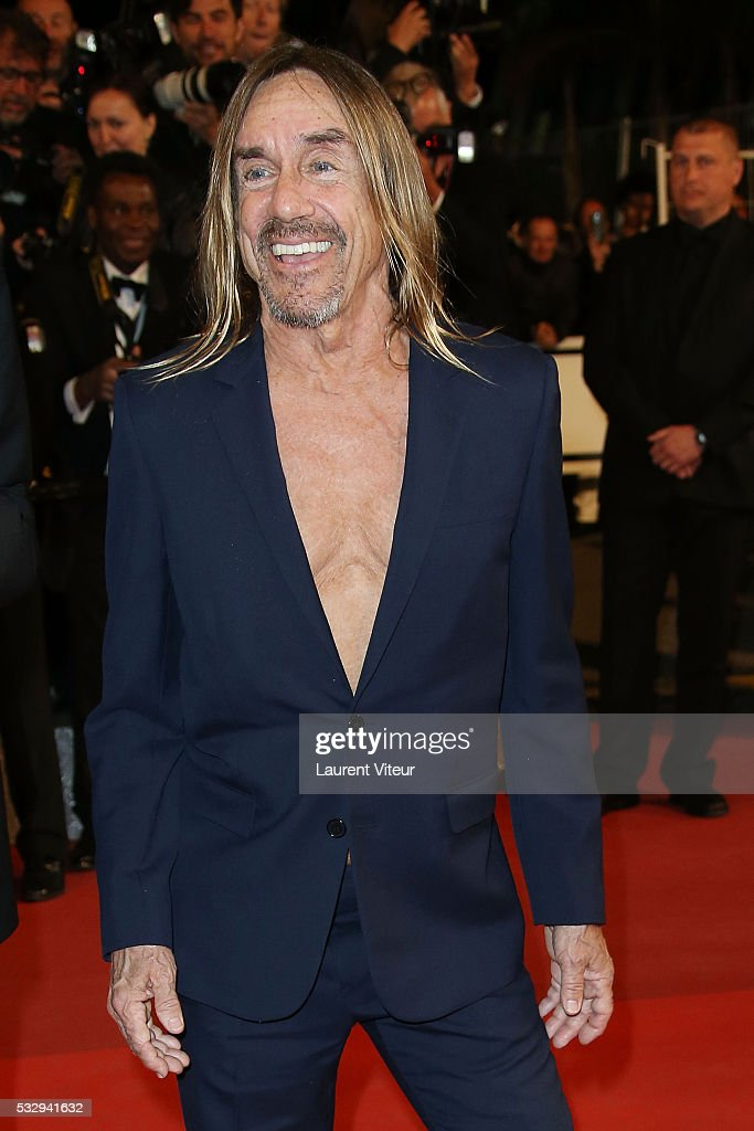 <a gi-track='captionPersonalityLinkClicked' href=/galleries/search?phrase=Iggy+Pop&family=editorial&specificpeople=171445 ng-click='$event.stopPropagation()'>Iggy Pop</a> attends the 'Gimme Danger' Premiere during the 69th annual Cannes Film Festival at the Palais des Festivals on May 19, 2016 in Cannes, .