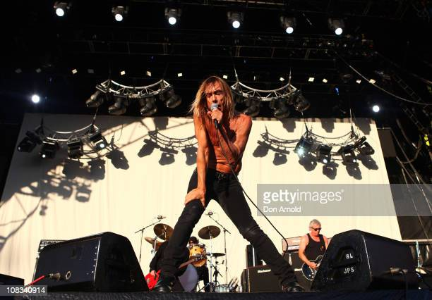 Iggy Pop of Iggy and The Stooges performs on stage during the Big Day Out Festival at the Sydney Showground on January 26 2011 in Sydney Australia