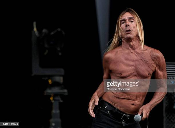 Iggy Pop of Iggy The Stooges performs on stage on Day 1 of Hard Rock Calling at Hyde Park on July 13 2012 in London United Kingdom