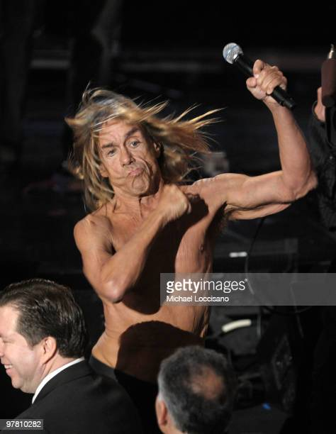 Iggy Pop of Iggy the Stooges performs onstage at the 25th Annual Rock And Roll Hall of Fame Induction Ceremony at the Waldorf=Astoria on March 15...