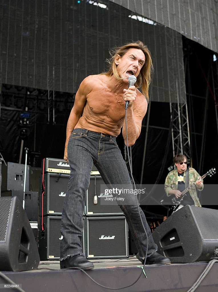 Iggy Pop of The Stooges performs during the 2008 Virgin Mobile festival at the Pimlico Race Course on August 10, 2008 in Baltimore, Maryland.
