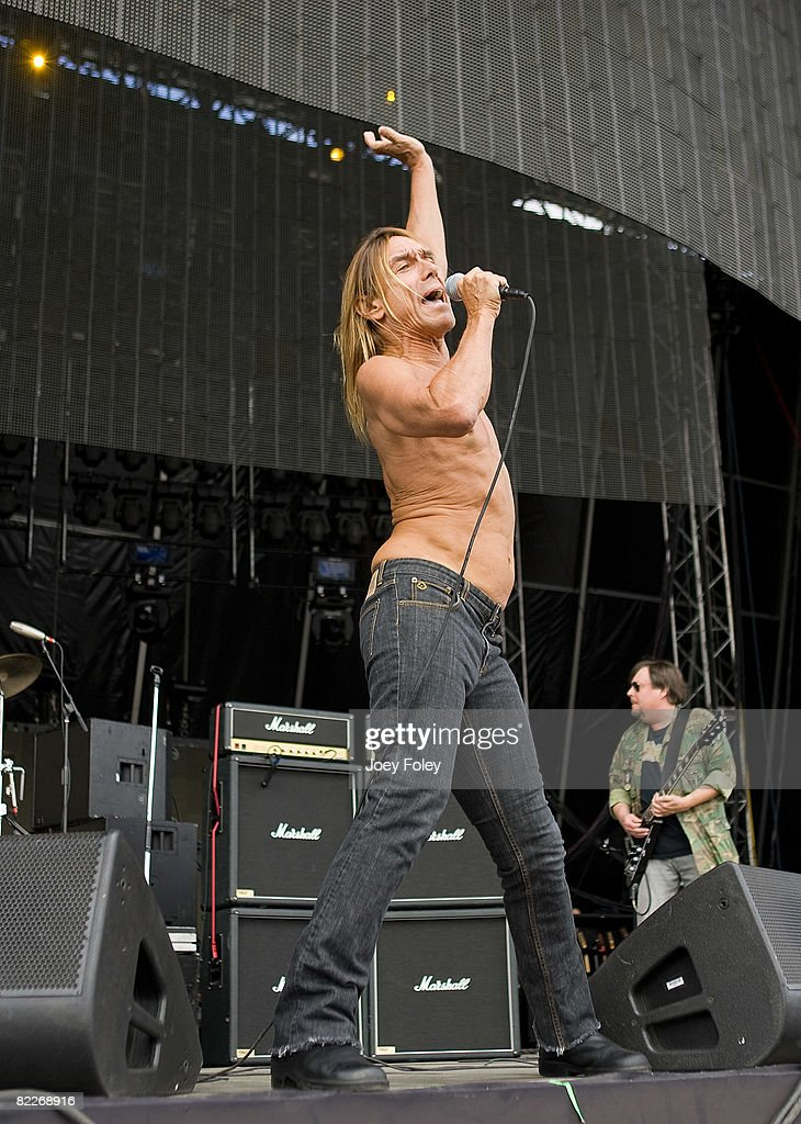 Iggy Pop of the Stooges performs during the 2008 Virgin Mobile festival at the Pimlico Race Course on August 10, 2008 in Baltimore.