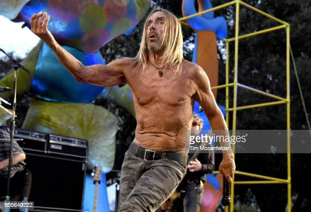 Iggy Pop performs during Burger Boogaloo 2017 at Mosswood Park on July 1 2017 in Oakland California