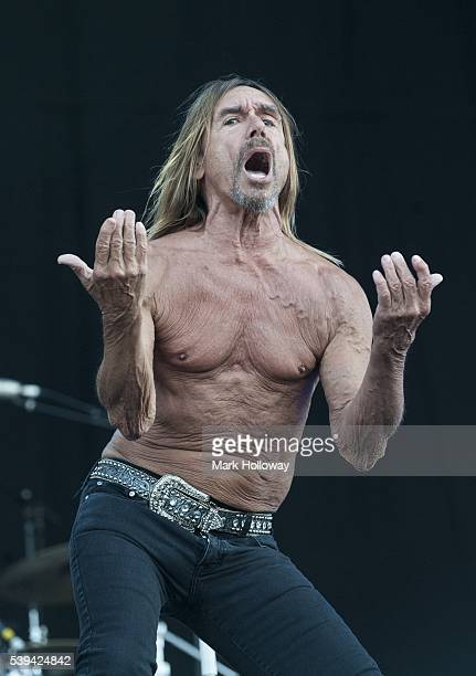 Iggy Pop performs on stage at Seaclose Park on June 11 2016 in Newport Isle of Wight