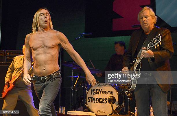 Iggy Pop Scott Asheton and James Williamsonof Iggy and the Stooges perform as part of C2SV Music Festival Day Three at St James Park on on September...