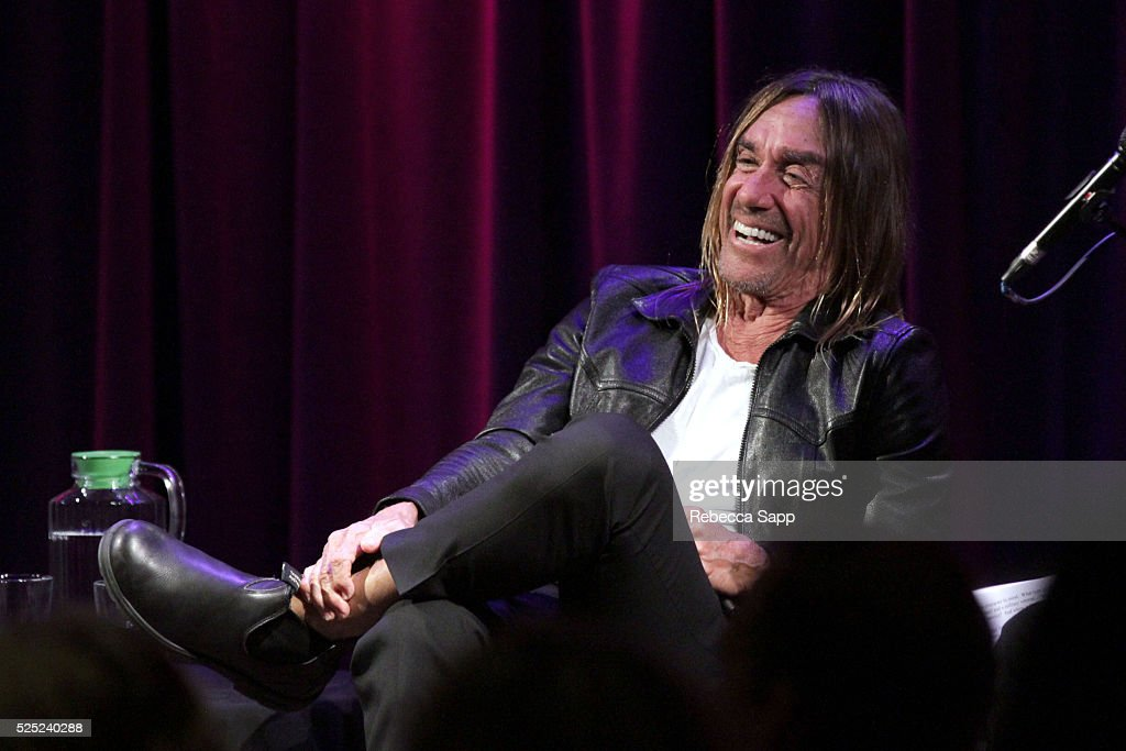 Iggy Pop speaks onstage at A Conversation With Iggy Pop And Josh Homme at The GRAMMY Museum on April 27, 2016 in Los Angeles, California.