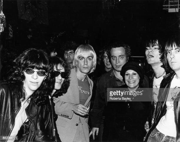 Iggy Pop with The Ramones and Seymour Stein or Sire Records at CBGB's New York April 1976 Left to right Joey Ramone Tommy Ramone Iggy Pop Danny...