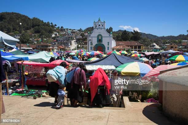 Iglesia de San Juan Bautista and market San Juan Chamula near San Cristobal de las Casas Chiapas Mexico