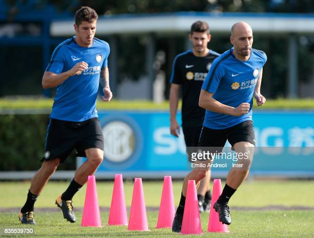 Iglesias Borja Valero and Stevan Jovetic of FC Internazionale Milano train during the FC Internazionale training session at the club's training...