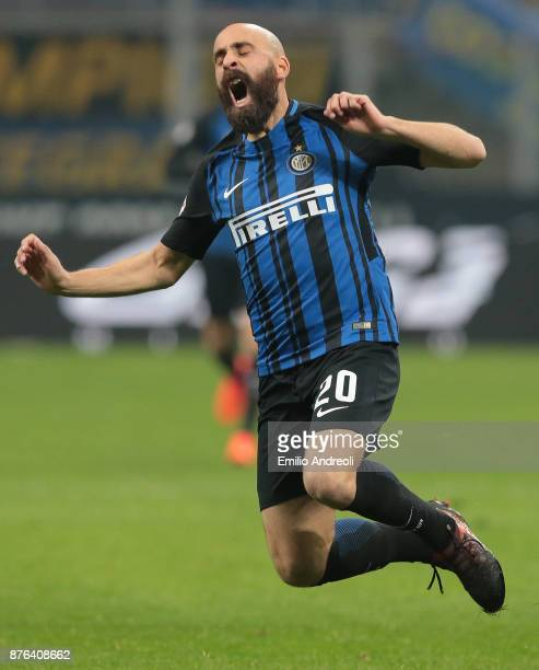 Iglesias Borja Valero of FC Internazionale Milano reacts during the Serie A match between FC Internazionale and Atalanta BC at Stadio Giuseppe Meazza...