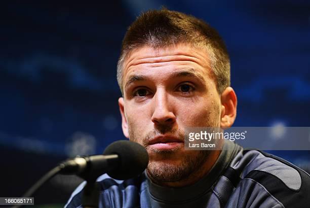 Ignacio Camacho looks on during a Malaga CF press conference ahead of their UEFA Champions League quarterfinal match against Borussia Dortmund on...