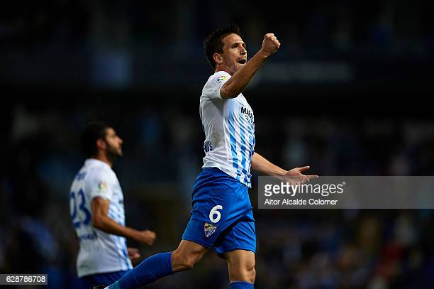 Ignacio Camacho of Malaga CF celebrates after scoring the first goal for of Malaga CF during La Liga match between Malaga CF and Granada CF at La...
