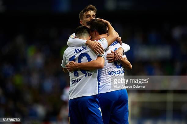 Ignacio Camacho of Malaga CF celebrates after scoring the first goal for Malaga CF with his team mate Juan Pablo Anor 'Juanpi' of Malaga CF during La...