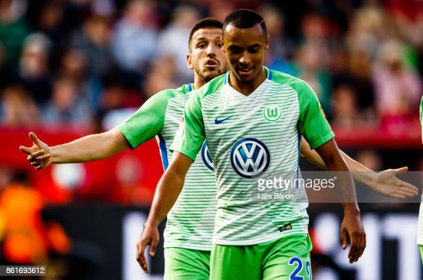 Ignacio Camacho of Wolfsburg reacts during the Bundesliga match between Bayer 04 Leverkusen and VfL Wolfsburg at BayArena on October 15 2017 in...