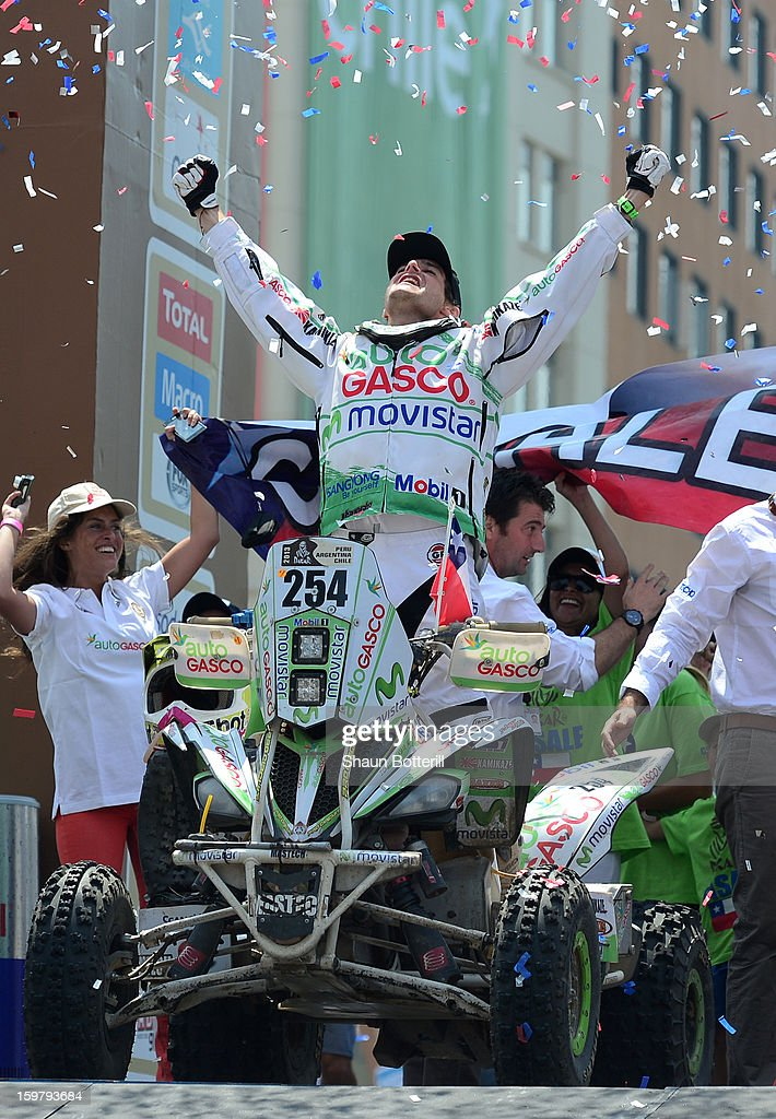 Ignacio Casale of Chile, 2nd place in Quads, celebrates during the podium presentations at the end of the 2013 Dakar Rally on January 20, 2013 in Santiago, Chile.