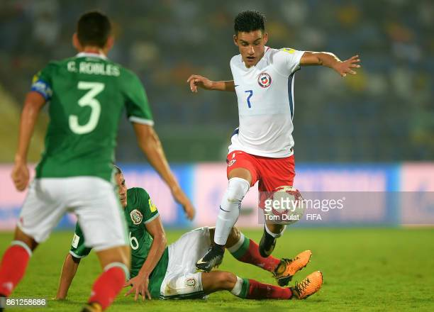 Ignacio Contreras of Chile in action during the FIFA U17 World Cup India 2017 group E match between Mexico and Chile at Indira Gandhi Athletic...