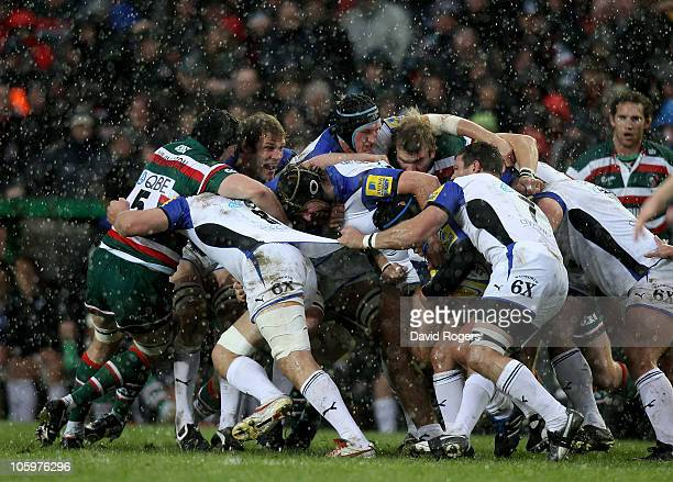 Ignacio Fernandez Lobbe of Bath in the centre of the packs during a torrential downpour during the Aviva Premiership match between Leicester Tigers...