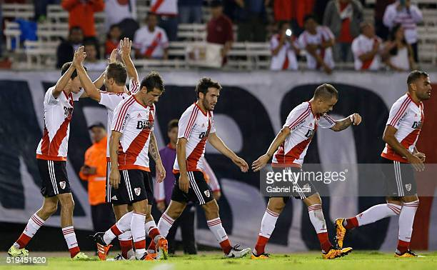Ignacio Fernandez of River Plate and teammates celebrate their team's second goal during a match between River Plate and The Strongest as part of...