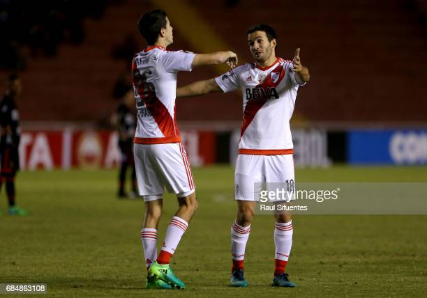 Ignacio Fernandez of River Plate celebrates with Camilo Mayada after scoring the third goal of his team during a group stage match between FBC Melgar...