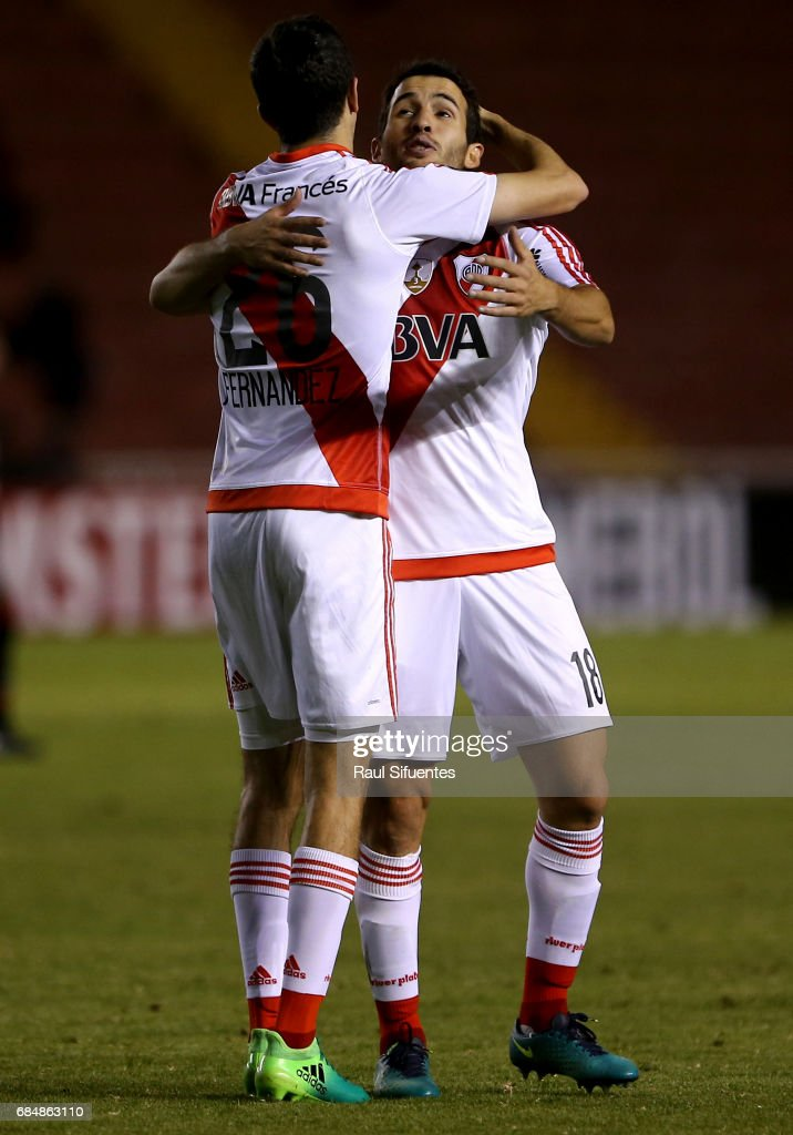 Ignacio Fernandez of River Plate celebrates with Camilo Mayada after scoring the third goal of his team during a group stage match between FBC Melgar and River Plate as part of Copa CONMEBOL Libertadores Bridgestone 2017 at Monumental de la UNSA Stadium on May 18, 2017 in Arequipa, Peru.