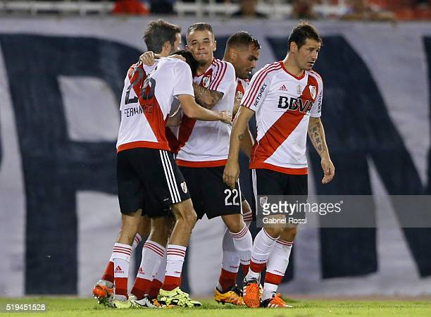 Ignacio Fernandez of River Plate celebrates with teammates after scoring the second goal of his team during a match between River Plate and The...