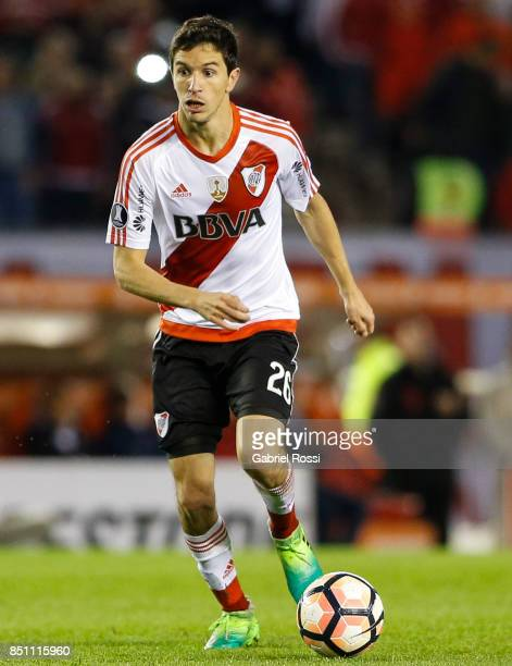 Ignacio Fernandez of River Plate drives the ball during a second leg match between River Plate and Wilstermann as part of the quarter finals of Copa...
