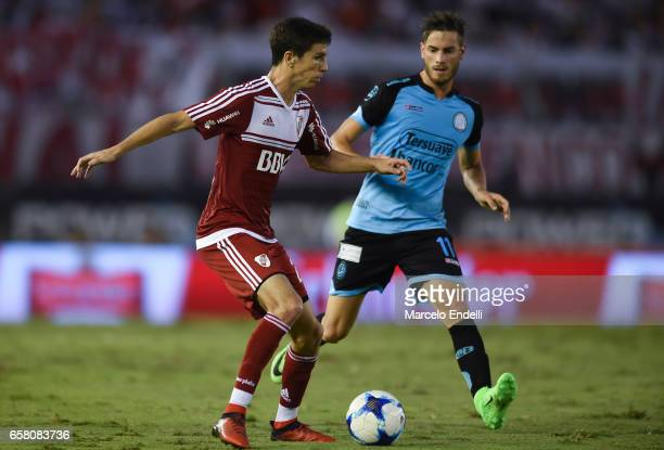 Ignacio Fernandez of River Plate fights for ball with Lucas Melano of Belgrano during a match between River Plate and Belgrano as part of Torneo...