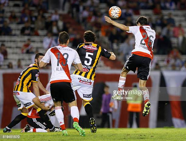 Ignacio Fernandez of River Plate heads the ball to score the second goal of his team during a match between River Plate and The Strongest as part of...