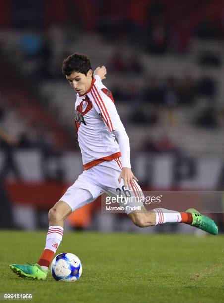 Ignacio Fernandez of River Plate kicks the ball during a match between River Plate and Aldosivi as part of Torneo Primera Division 2016/17 at...