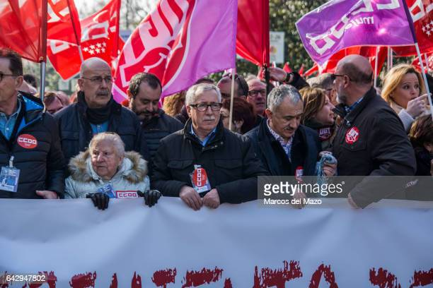 Ignacio Fernandez Toxo General Secretary of CCOO unions protesting during a demonstration against the rising cost of living