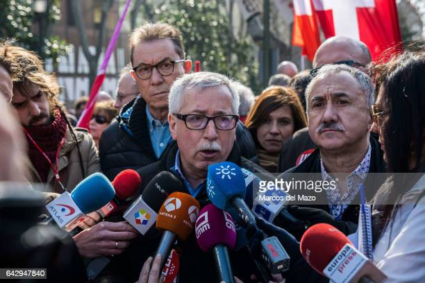 Ignacio Fernandez Toxo General Secretary of CCOO unions speaking to the press at the beginning of a demonstration against the rising cost of living