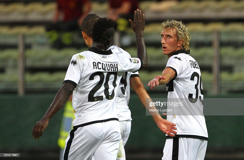 Ignacio Fideleff of Parma FC celebrates his goal with teammates Afriyie Acquah during the Friendly match between Parma FC and UC Sampdoria at Stadio...