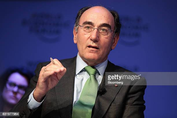 Ignacio Galan chairman and chief executive officer of Iberdrola SA gestures as he speaks during a panel session at the World Economic Forum in Davos...