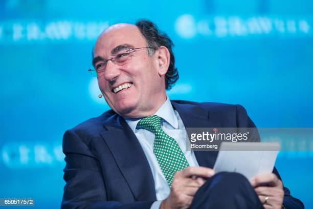 Ignacio Galan chairman and chief executive officer of Iberdrola SA smiles during the 2017 CERAWeek by IHS Markit conference in Houston Texas US on...