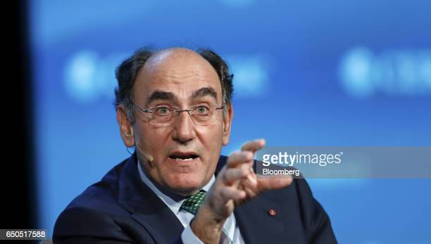 Ignacio Galan chairman and chief executive officer of Iberdrola SA speaks during the 2017 CERAWeek by IHS Markit conference in Houston Texas US on...