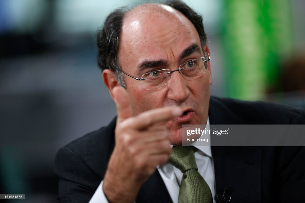 Ignacio Galan, chairman of Iberdrola SA, gestures during a Bloomberg Television interview in London, U.K., on Thursday, Feb. 14, 2013. Iberdrola SA, seeking to cut borrowings to 26 billion euros from the current level of more than 30 billion euros, intends to meet its debt-reduction plan by using asset sales, cash flow and securitization into tariff-deficit bonds, Galan said. Photographer: Simon Dawson/Bloomberg via Getty Images
