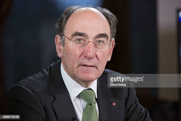 Ignacio Galan chairman of Iberdrola SA pauses during a Bloomberg Television interview at the United Nations COP21 climate summit at City Hall also...