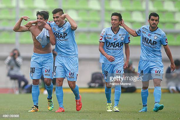 Ignacio Herrera of Deportes Iquique celebrates with teammates after scoring the fifth goal of his team during a match between Deportes Iquique and U...