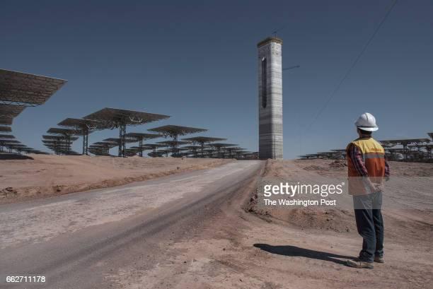 CALAMA CHILE MARCH 9 Ignacio Muñoz who works in the risk prevention department at Cerro Dominador solar plant checks the heliostats field of the...