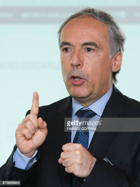 Ignacio Ozcariz CEO of Londonbased financial services company R Fintech Plc gestures during the launch of Bilur a cryptocurrency aiming to compete...