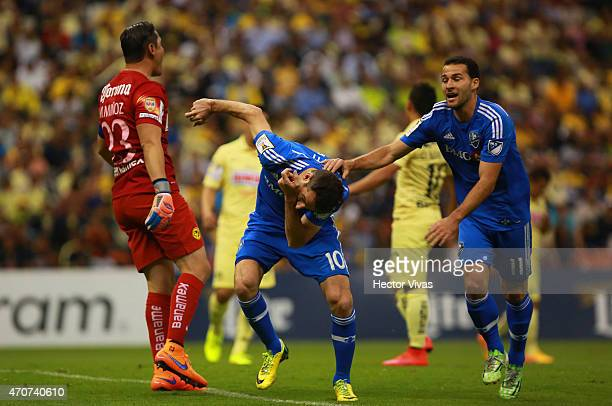 Ignacio Piatti of Montreal Impact celebrates after scoring the first goal of his team during a Championship first leg match between America and...