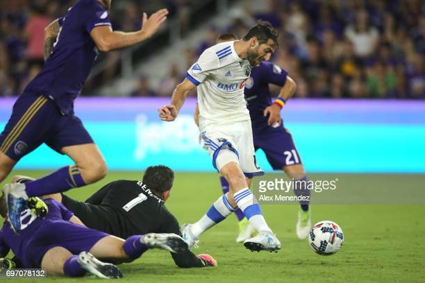 ORLANDO FL JUNE 17 Ignacio Piatti of Montreal Impact scores a goal in front of Joseph Bendik of Orlando City SC Scott Sutter of Orlando City SC and...