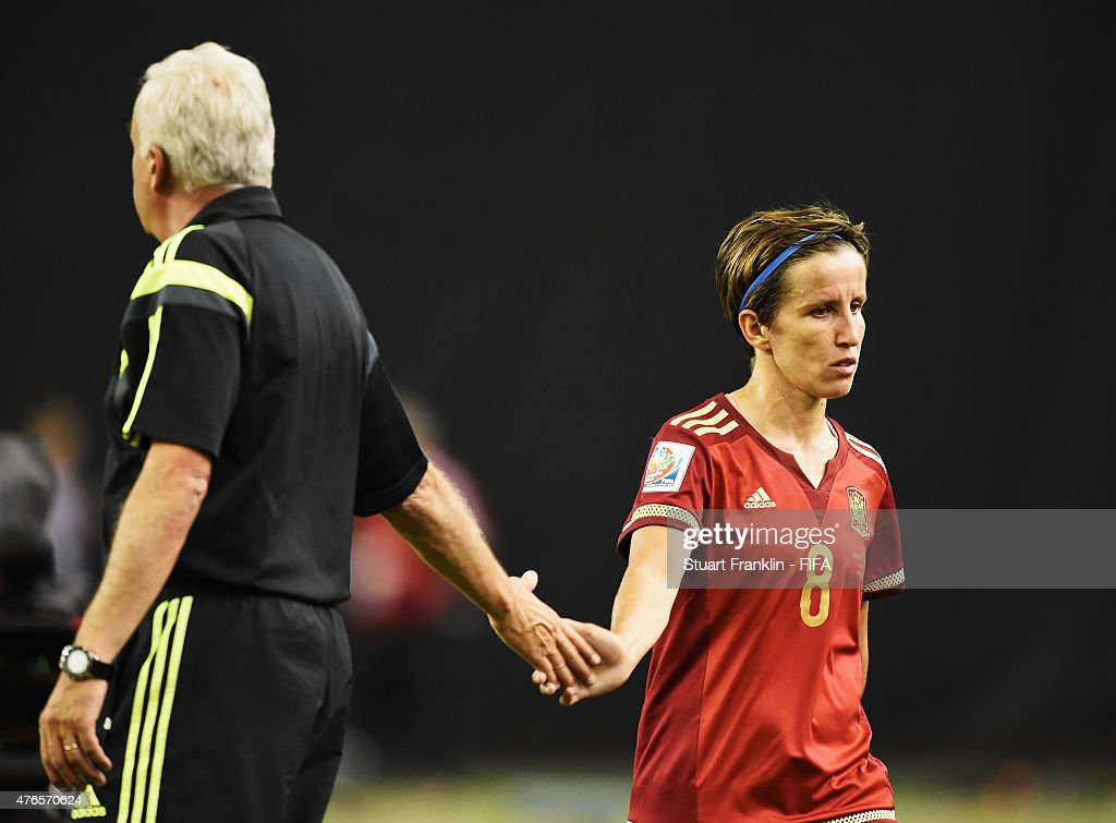 Ignacio Quereda, head coach of Spain shakes hands with during the FIFA Women's World Cup 2015 group E match between Spain and Costa Rica at Olympic Stadium on June 9, 2015 in Montreal, Canada.